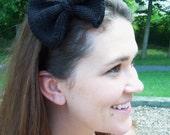Knit Black Bow Headband