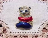 Darling Enamel Rhinestone Panda Vintage Brooch