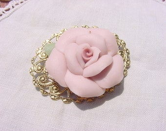 Bisque Pink Rose Vintage Bone China Brooch