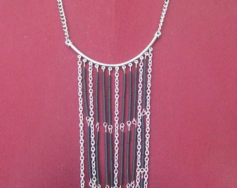 Bugle bead and chain fringe necklace