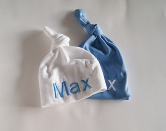 Set of Personalized baby hats / hospital hat / monogram hat/ newborn hat / baby girl / baby boy / baby shower / baby gift