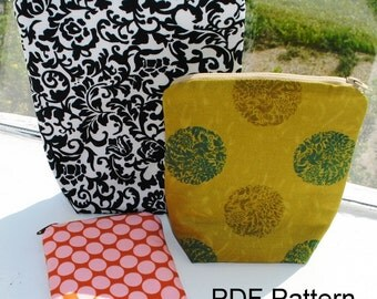 PDF Pattern Zippered Pouches in 3 Sizes