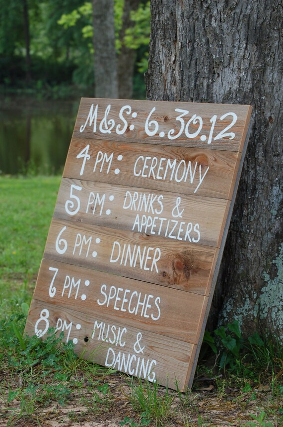 Reception Schedule Menu Board Wedding Itinerary Wedding Sign Wedding Welcome Sign Entrance Ceremony Country Wedding Rustic Wooden Board