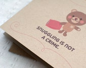 Funny Valentine Card for Him, Funny Birthday Card - Cute Naughty Kawaii, Brown Teddy Bear, Recycled Card - Snuggle Anniversary Card For Her