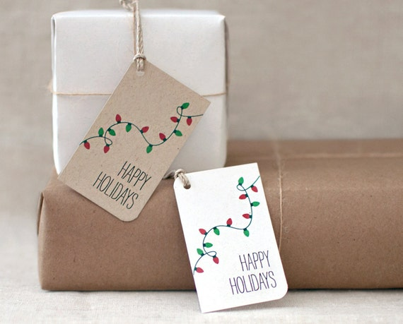 Christmas Gift Tags, Christmas Lights Handmade Happy Holiday Gift Tags - Set of 10 - White OR Brown Recycled