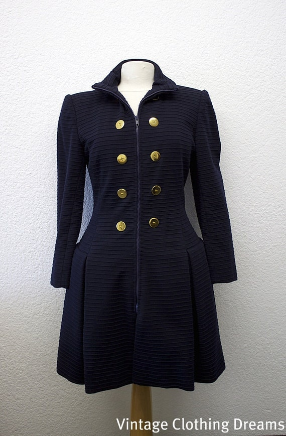 Christian LaCroix Coat Overcoat Dress Vintage Navy Wool Princess Hourglass Ladies COUTURE Coat with silk lining Made in France BR-85