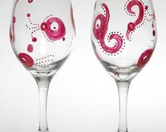 Modern Paisley Print Hand-Painted Wine Glass Set of 2