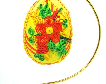 Collectible Quilled Yellow and Orange Medley Egg with Ornament Stand