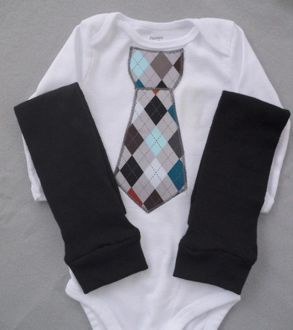 Tie Onesie Baby Boy Argyle with Leg Warmers (Gray, Black or Brown)