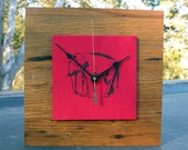 too tired to argue Elephant Clock, Red Clock, Reclaimed Wood Clock, Kids Clock