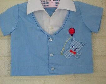 1970s The Gingham Dog, Vintage Blue Bowling Style Shirt, 3 Months
