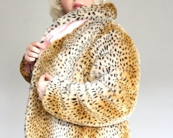 Faux Fur- Cheetah  Print -Plus Size Coat- with Pink lining