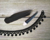 Crochet necklace choker / raven black / mourning jewellery / Gothic black flowers / jewel bling button / black cotton fiber necklace / Goth