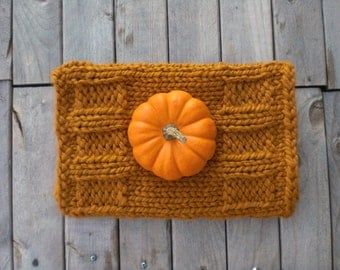 Hand knit winter cowl / spicy butterscotch color cowl / urban rustic chunky neck cozy / burnt umber neck warmer / turmeric curry color cowl