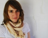 Ivory Woven Cotton Scarf with Rose Stripe