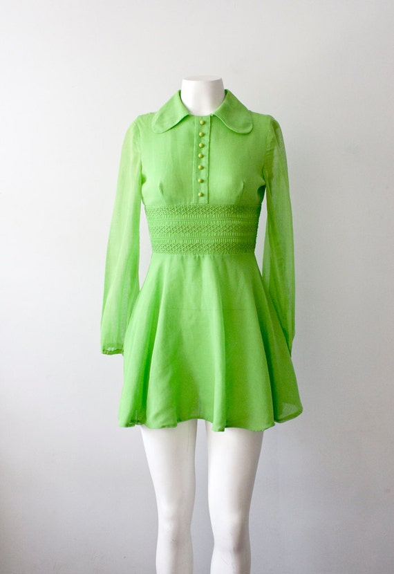SALE///60s Mod Minidress in Neon Lime