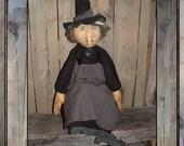 Primitive Folk Art Soft Sculpted Halloween Witch rag doll HAFAIR HAGUILD OFG
