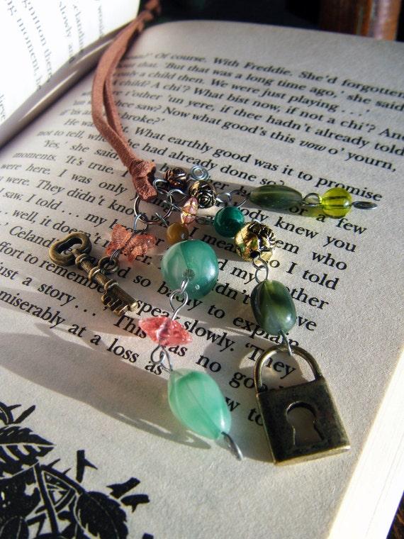 Beaded Book Thong Lock and Key Bookmark Secret Garden Inspired Book Club Reading Teacher Gift