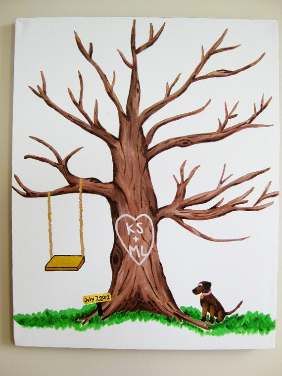 items similar to wedding tree thumbprint guestbook 16x20