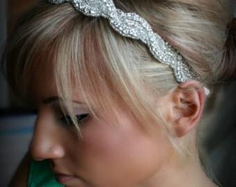 Crystal Beaded Headband ~ Silver Bridal Headpiece, Available as Headband or Ribbon Tie