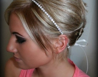 Bridal Headband, Bridal Hair Piece, SINGLE ROW RHINESTONE ribbon, Accessories, Bridal, Wedding Hairpiece, Bridal Ribbon Headband, Rhineston
