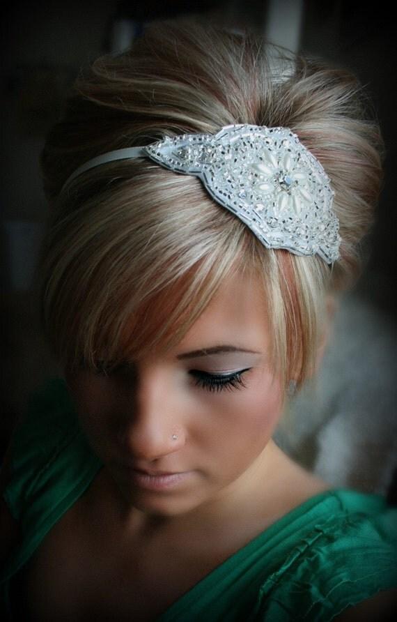 Rhinestone Pearl Headband- JACKIE, bridal, wedding, hair accessory, headband, wedding headband