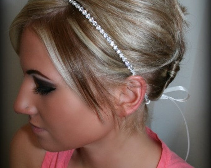 Bridesmaid Headband – Thin Rhinestone Headband with Satin Ribbon Tie, Bridesmaid Headbands, Bridesmaid Hair Pieces