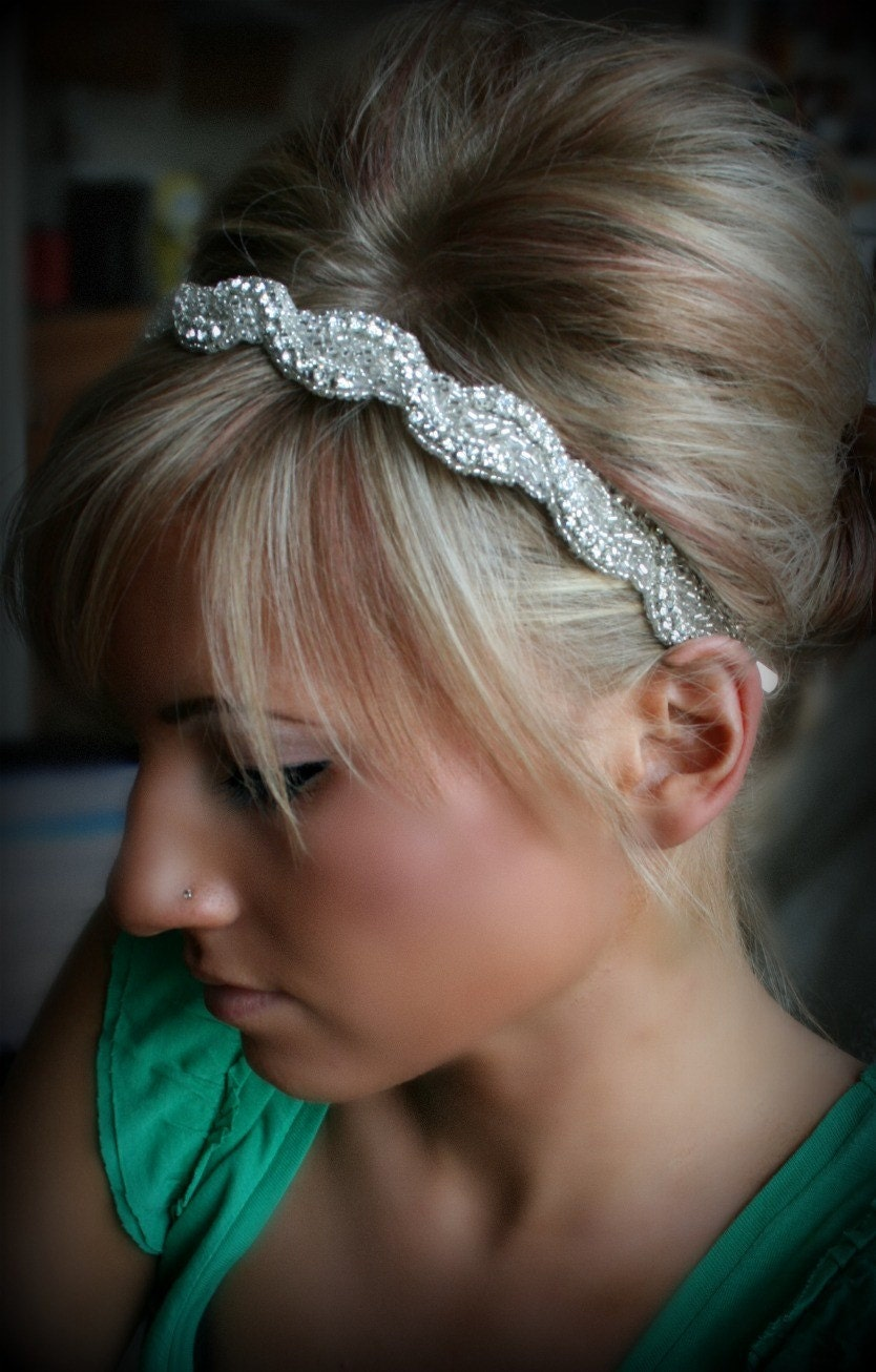 Wedding Rhinestone Headbands beaded headbands etsy crystal headband silver bridal headpiece available as or ribbon tie
