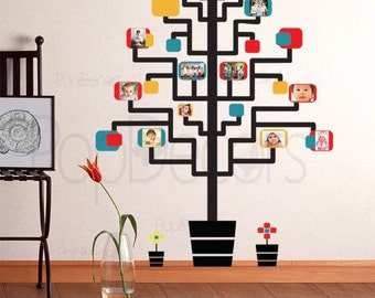 Memory Tree Photo Tree Removable Vinyl Wall Decal Kids Photo Hanging-65inch H- Playroom Wall  Decals Stickers by Pop Decors PT-0067