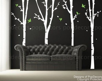 Trees Wall Decal Office Wall Decal Wall Sticker Birch Tree Decal - 4 Super Birch Trees(102inch H)- Designed by Pop Decors