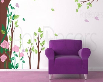 """Fantasy Rose Garden-(102"""" H)- Nature Style Wall Decals Art Stickers Home Decor by Pop Decors"""