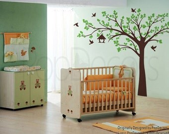 "Baby Girls Nursery Tree Decals Kids Wall Stickers - Big tree with love birds(88"" W) - Removable Vinyl Wall Art by Pop Decors pt0116b"