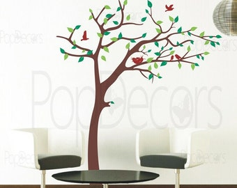 "Baby Nursery Tree Wall Decals Kids Wall Stickers- Nursery Tree Decal (79"" H) -Removable Vinyl Wall Decals Free Squeegee by Pop Decors pt0161"