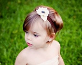 Flower Headband, Flower Bow, Baby Headband, Baby Bow, Girls Headband, Girls Bow, Infant Headband, Infant Bow, Boutique Bow, White Flower