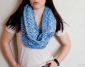 Women's Scarf - Cowl Scarf - 50% OFF SALE - Crochet Cowl - Blue Circle Scarf