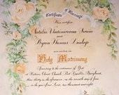 Marriage Certificate Custom Painted to match your wedding