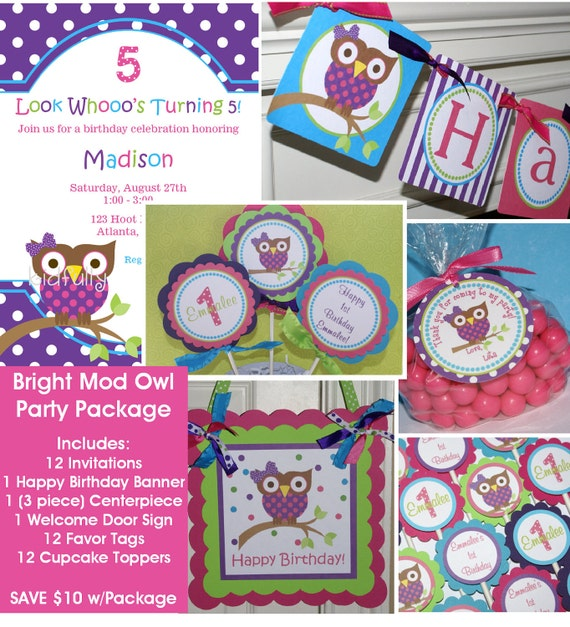 Bright Mod Owl Party Package - Invitations, banner, cupcake toppers, favor tags, centerpiece & door sign (MOGB-1)