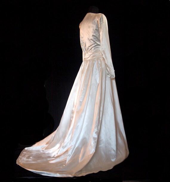 Vintage Ivory Wedding Dress, Golden Satin, S, 40s