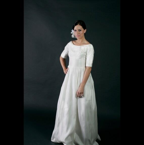 Vintage White Silk Wedding Dress, 60's XS