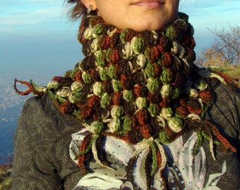 Green and brown color garden crochet bubbled neckwarmer
