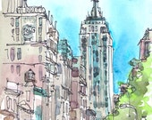 New York sketch  Empire State, New York City Art Print from a watercolor sketch archival print