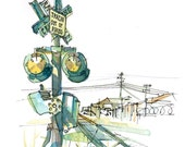Abandoned Railroad Crossing and weeds, A gritty Urban Sketch - 8x10 print in ochre, teal blue and gold
