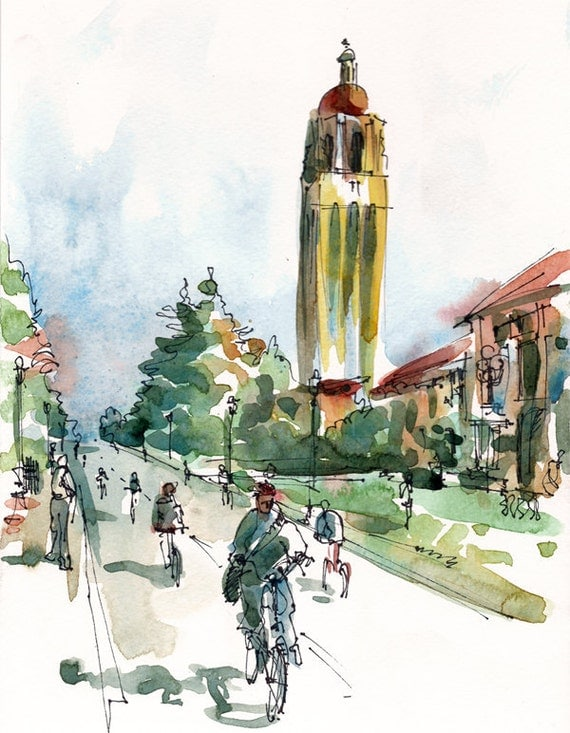 Back to school,  Stanford University, California Hoover Tower and bicycles - fine art print