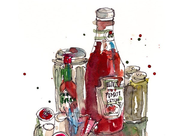 Kitchen Decor, Condiments, a study in red and green - archival fine art print