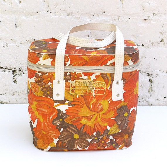 Vintage 60s Mid Century Mod Orange Flower Power Thermos Vinyl Insulated Cooler Bag