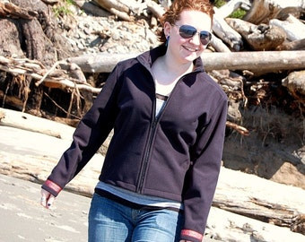 Womens Outerwear 4 Seasons Jacket Malden Mills Polartec Windbloc Jacquard Ribbon Soft Shell Techie Windbreaker Size Medium
