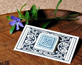 Handstitched Blackwork Lapel Pin Blue & White Jewelry Hand-Stitched Graphic Design