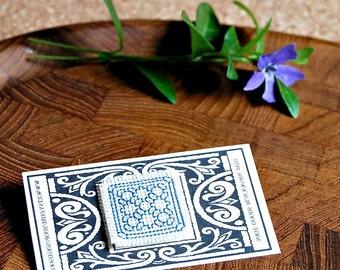 Miniature Blackwork Lapel Pin Blue White Hand - Stitched Graphic Design Jewelry