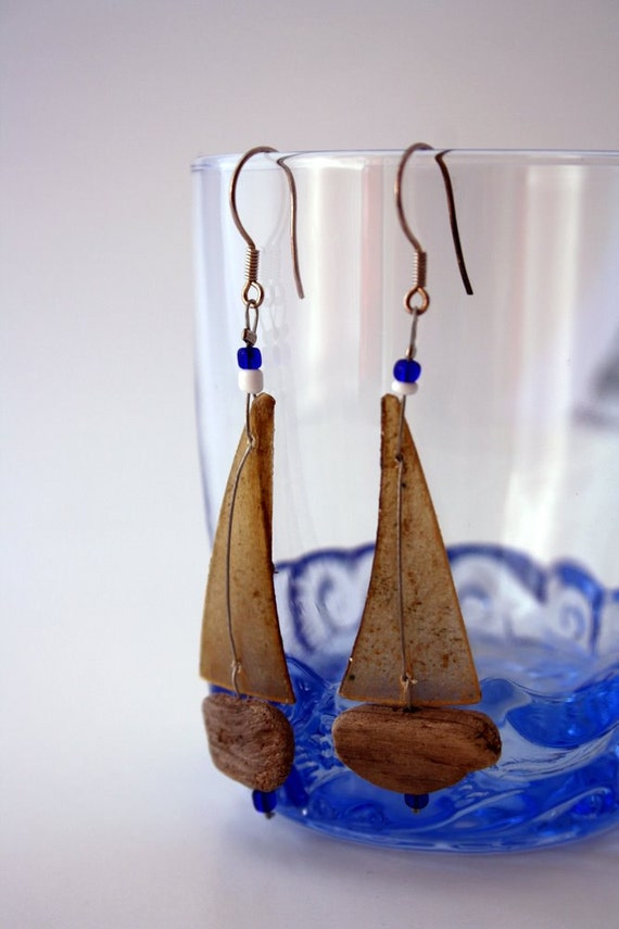 driftwood sailboat earrings with genuine parchment