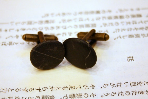 "cufflinks "" zen "" with beach-pebbles from Alanya 1,5 cm perfect gift for nature-lovers"